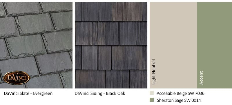 5. Single-Width Slate – Evergreen – Black Oak Shake Siding Exterior Color Schemes