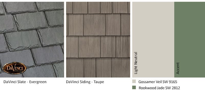 6. Single-Width Slate – Evergreen – Taupe shake siding exterior color schemes