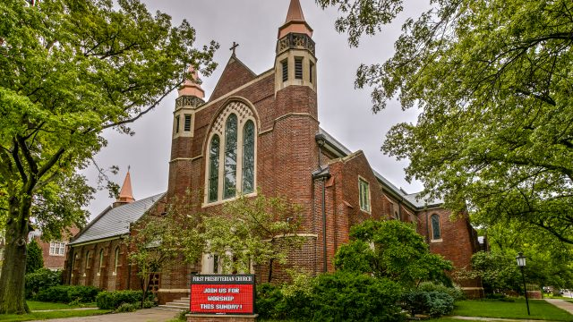 DaVinci Roofscapes helped First Presbyterian Church regain an amazing roof with impact-resistant Bellaforte slate tiles.