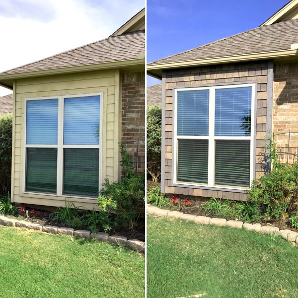 A little before/after to show how DaVinci hand-split cedar shake has improved this house's curb appeal.