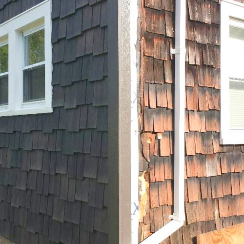 A nice little before/after of Rosemar'y sold real shakes versus DaVinci's bright new shake siding