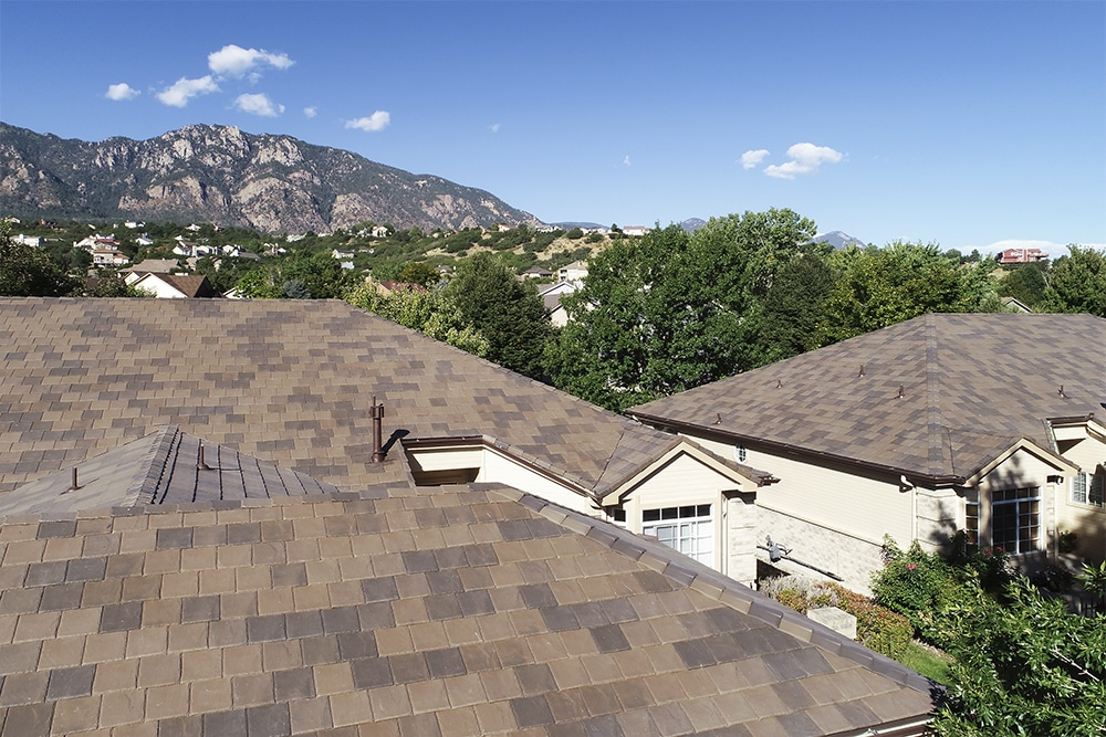A close-up of a majestic DaVinci roof amidst the majestic mountains.