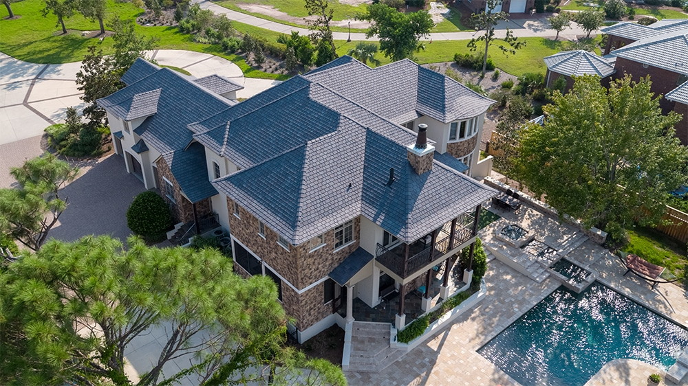A zoomed-out view of this Florida home's new DaVinci Slate roof... still looking fabulous.