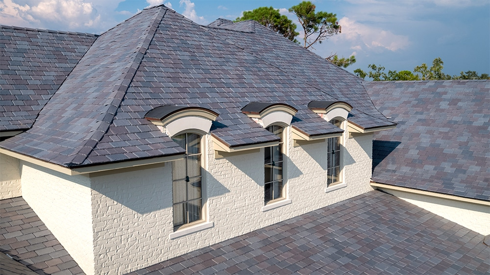 A close-up of this Florida home's new DaVinci Slate roof.