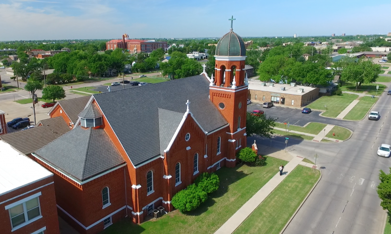 Single-width slate tiles completes this historic Oklahoma church