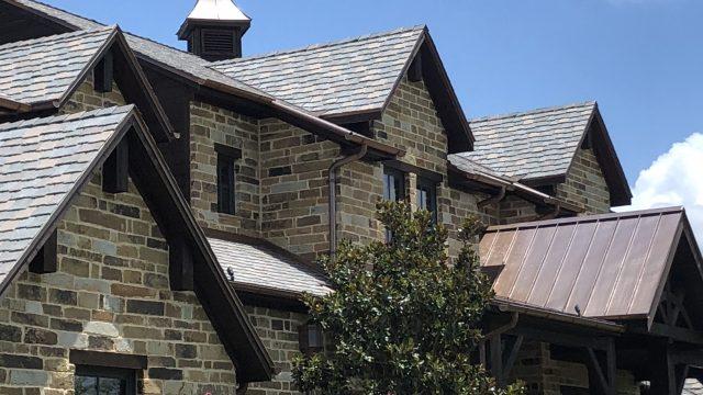 A closeup of this new DaVinci multi width slate roof
