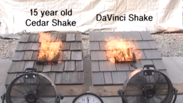 A real cedar wood shake burns much faster and hotter than a DaVinci synthetic shake tile