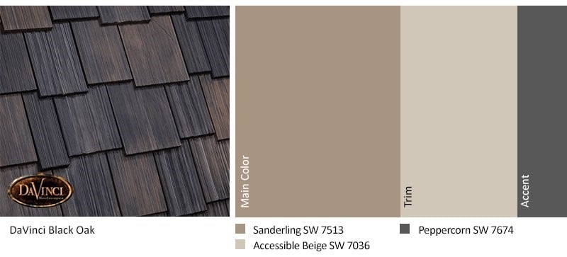 DaVinci Multi-width Shake Black Oak with Sherwin-Williams Exterior Color Scheme