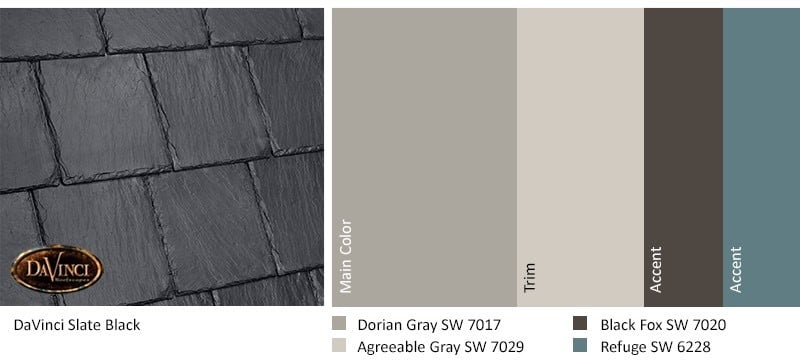 DaVinci Bellaforte Slate Black with Sherwin-Williams Exterior Color Palette