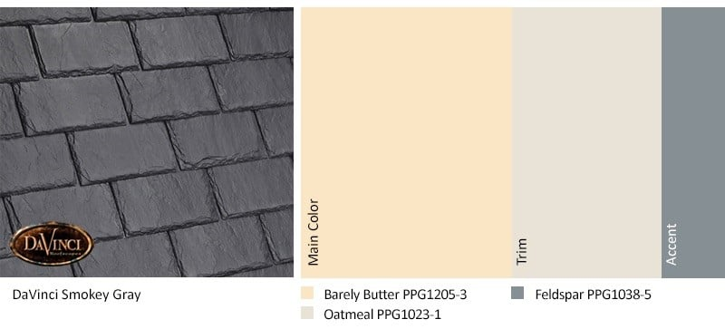 DaVinci Single-width Slate Smokey Gray with PPG Paints Exterior Color Scheme