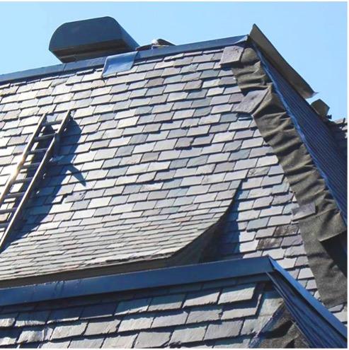 Damaged slate roof